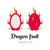 Fresh dragon fruit, cut sliced, seeds vector editable illustration. Flat simple style, tropical fruit.