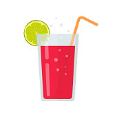 Fresh drink glass of smoothie or diet beverage cocktail vector illustration in flat cartoon design isolated