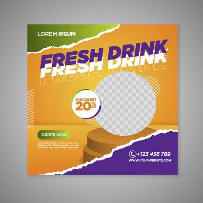 fresh drink social media banner template