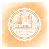 Vector fresh farm badge design over watercolor background.