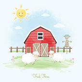 Fresh farm sheep, scarecrow and barn hand drawn animal illustration watercolor background