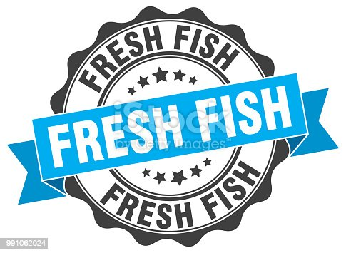 fresh fish stamp. sign. seal