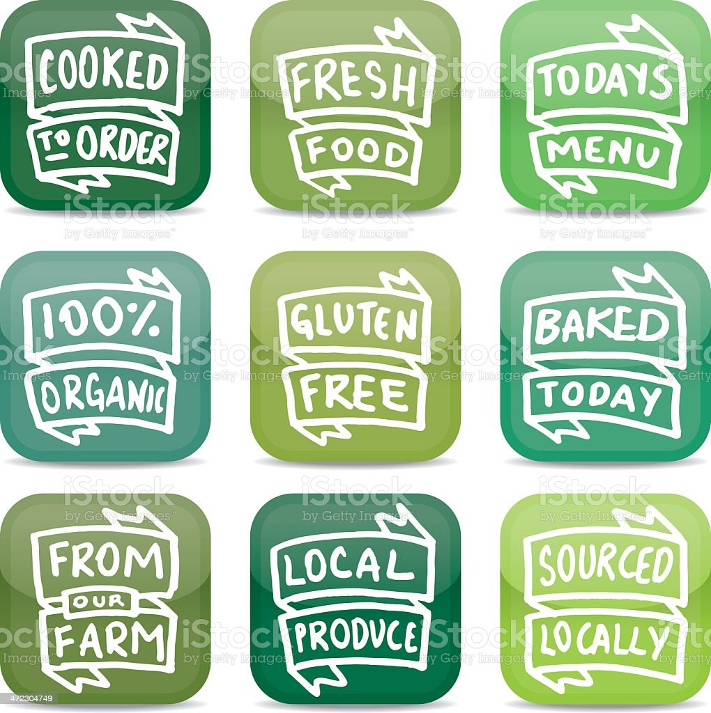 Fresh food app style icon set vector art illustration