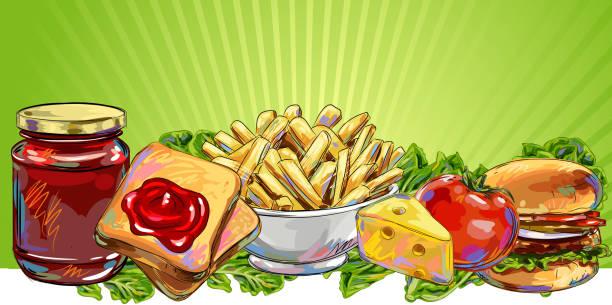Fresh Food Banner/Background vector art illustration