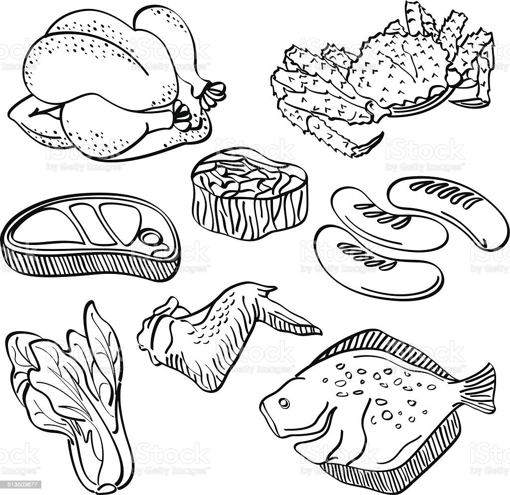 Fresh food Collection vector art illustration