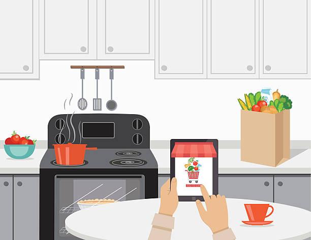 illustrazioni stock, clip art, cartoni animati e icone di tendenza di alimenti freschi concetto di consegna alimentari online - grocery home