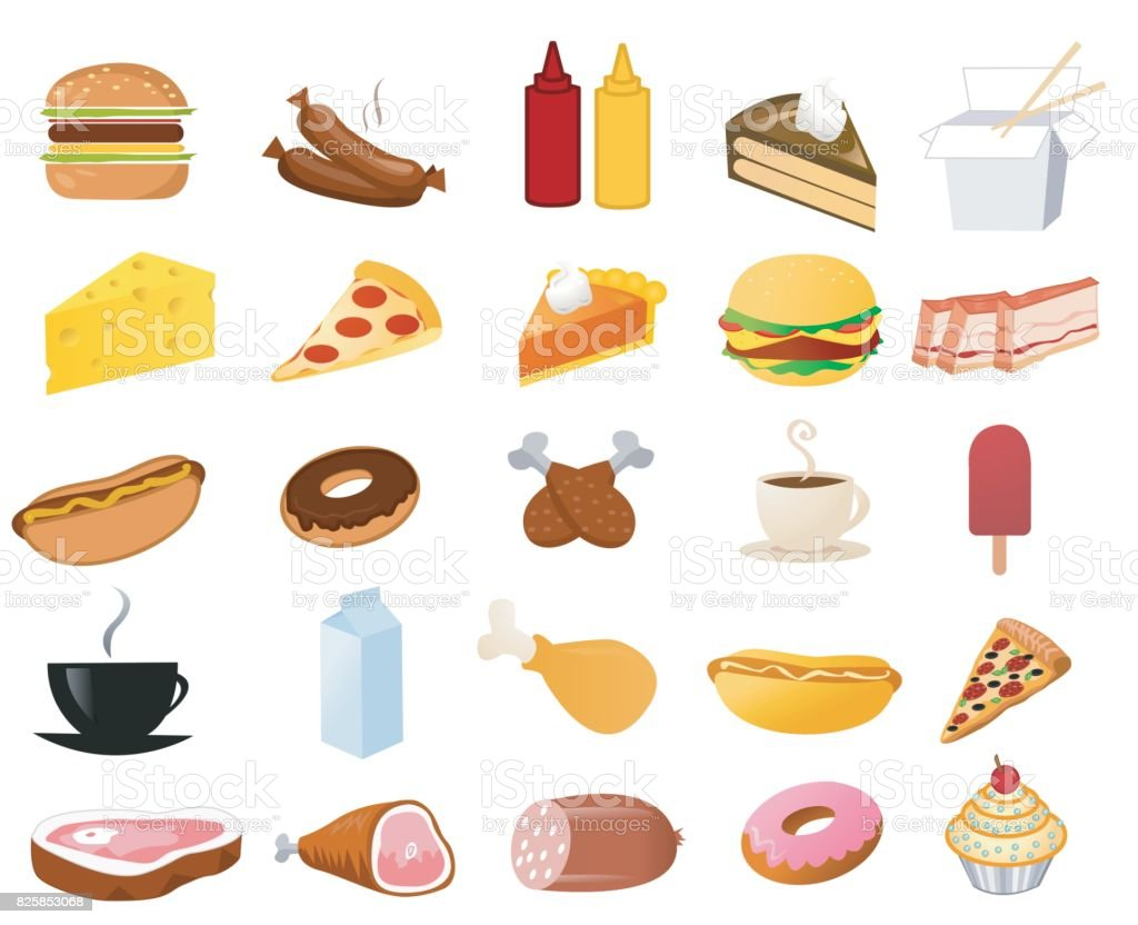 Ilustração do vetor ícones de alimentos frescos - ilustração de arte em vetor