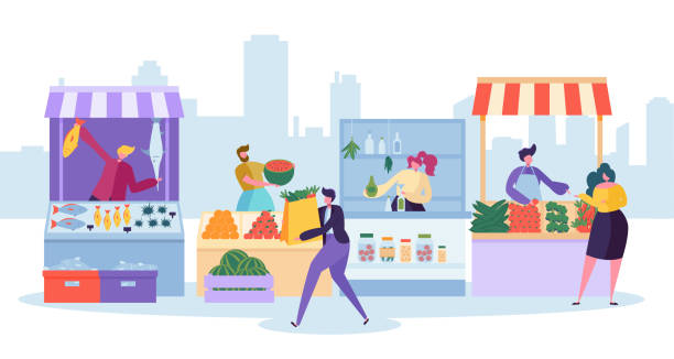 fresh food market stand. organic local farm store. man customer character buy grocery and fish in small eco shop. healthy goods supermarket shelf concept flat cartoon vector illustration - retail worker stock illustrations
