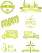 A set of vintage-style banners, badges and icons focused on farm fresh food. Each items is on a separate layer for easy color changes. Easily make color changes to match your look. Ideal for both print and web.
