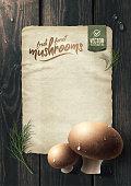 istock Fresh forest mushrooms on wooden table. Vector illustration 1202740829