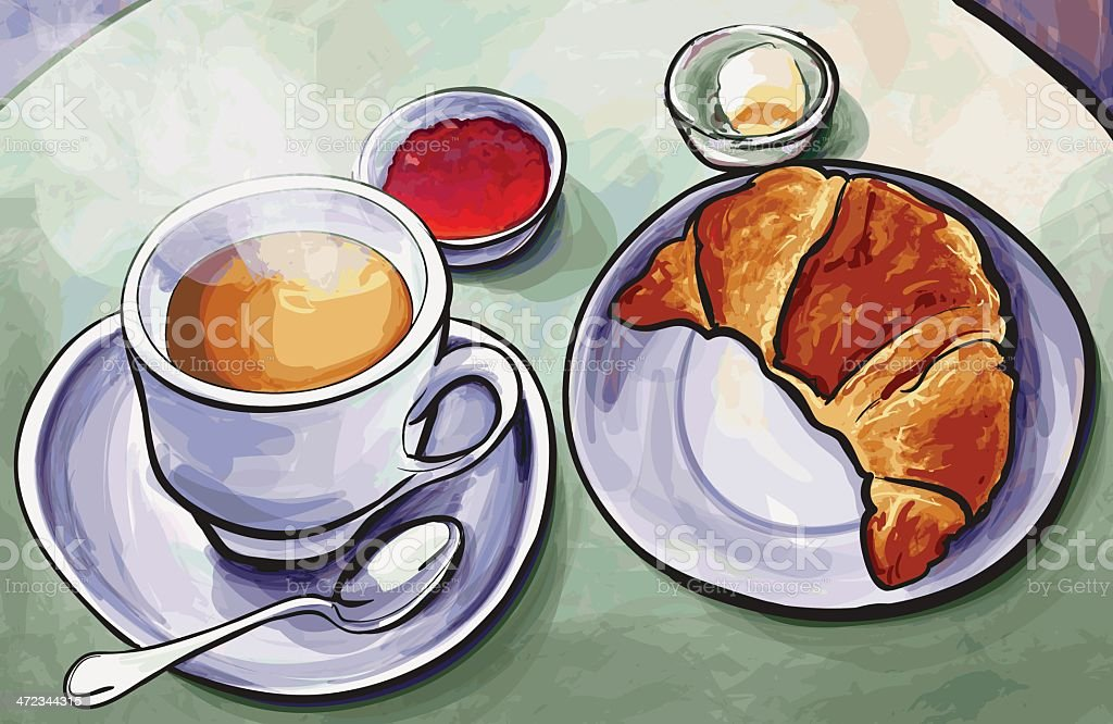 Fresh french breakfast with coffee expresso and croissant in watercolor royalty-free fresh french breakfast with coffee expresso and croissant in watercolor stock vector art & more images of baked