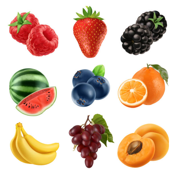 illustrazioni stock, clip art, cartoni animati e icone di tendenza di fresh fruit. 3d vector icons set. realistic illustration - fragole