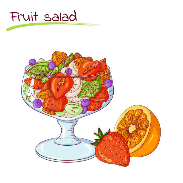 ilustrações, clipart, desenhos animados e ícones de salada de frutas frescas - fruit salad