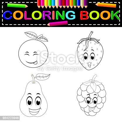 istock Frutas de dibujos animados lindo con diferentes emociones ...