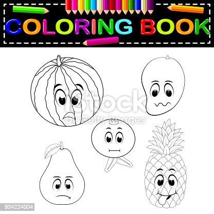 Ilustración de Fruta Fresca Con Cara De Libro Para Colorear y más ...