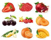 Fresh fruits and berries. Strawberry, raspberry, pomegranate, cherry, apricot, banana, orange, mango. 3d realistic vector set
