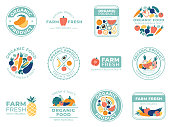 Fresh fruits and vegetables badges. Organic food, natural products and summer fruit. Vegetable badge, farm premium quality healthy foods ingredients logotype. Vector isolated illustration icons set