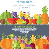 Fresh fruits and vegetables flat illustration concepts set. Simple modern flat design concepts for web banners, web sites, printed materials, advertising, infographics. Creative vector illustration