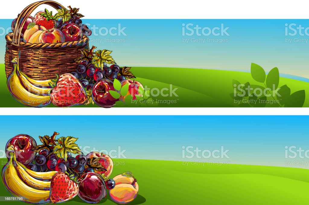 Fresh Fruits Backgrounds/Banners royalty-free stock vector art