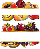 Fresh fruits Banners, all elements are in separate layers and grouped. created as very artistic painterly style. Please visit my portfolio for more options.