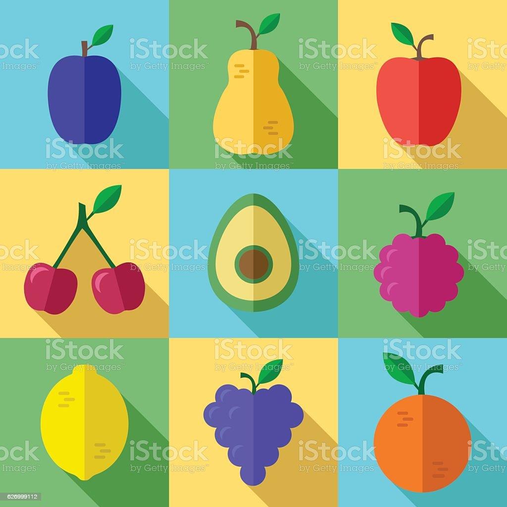 Fresh Fruits Icons Set with Long Shadow - ilustración de arte vectorial