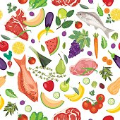 Fresh Fruits, Meats And Vegetables Seamless Pattern. Healthy eating concept.