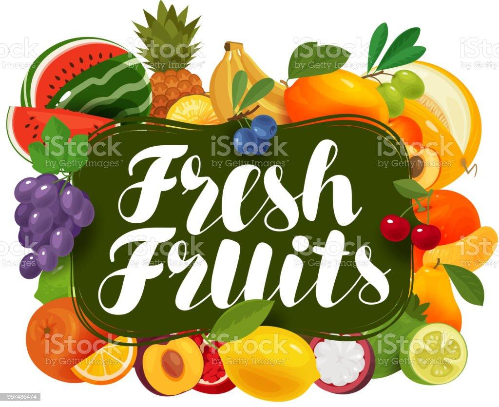 Fresh fruits. Natural food, greengrocery concept. Vector illustration vector art illustration