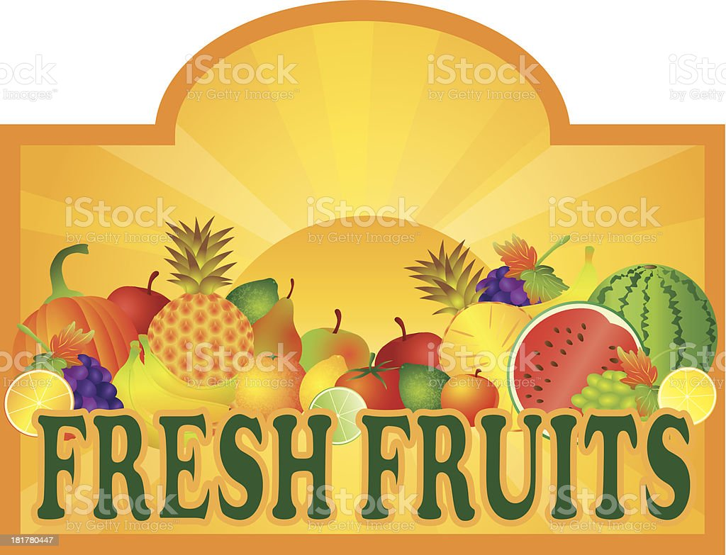 Fresh Fruits Stand Signage with Sun Vector Illustration royalty-free stock vector art