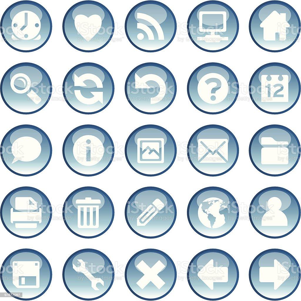 Fresh glossy blue icons royalty-free stock vector art
