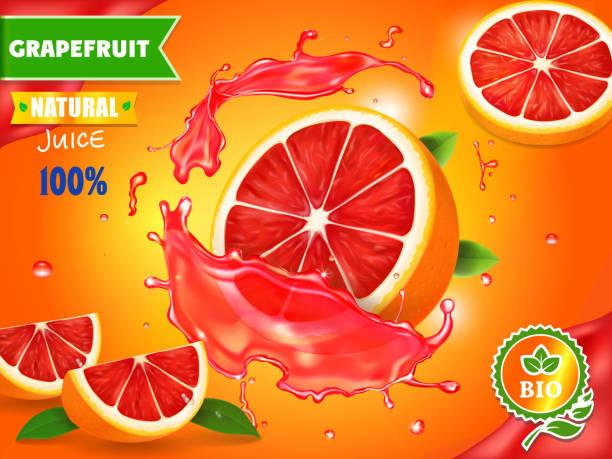 illustrations, cliparts, dessins animés et icônes de annonce de jus de pamplemousse frais. rafraîchissant de vecteur de publicité de boisson citron - infusion pamplemousse
