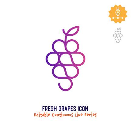 Fresh Grapes Continuous Line Editable Stroke Line