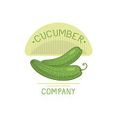 Fresh green cucumber badge isolated vector