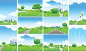 Fresh Green Landscape Backgrounds Set