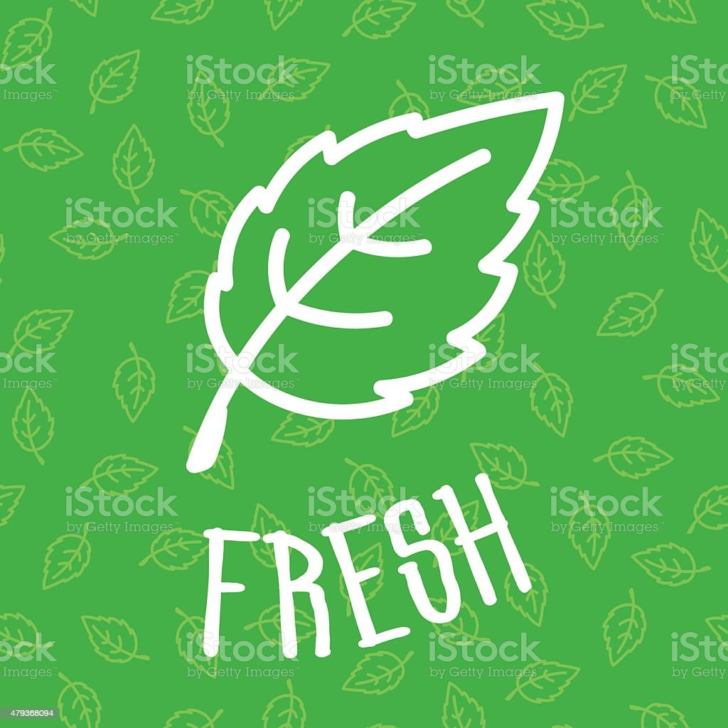 Fresh green mint leaf on seamless background vector art illustration