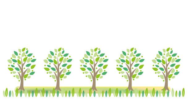 新鮮な緑の木 - フレーム - 草原点のイラスト素材/クリップアート素材/マンガ素材/アイコン素材