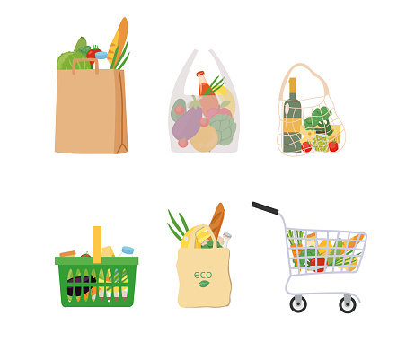 Fresh groceries in assorted bags and baskets