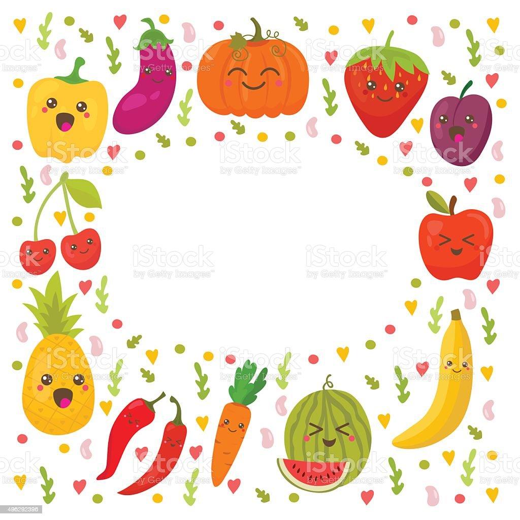 Frische Happy Obst Und Gemüse Rahmen Für Ihr Design Stock Vektor Art ...