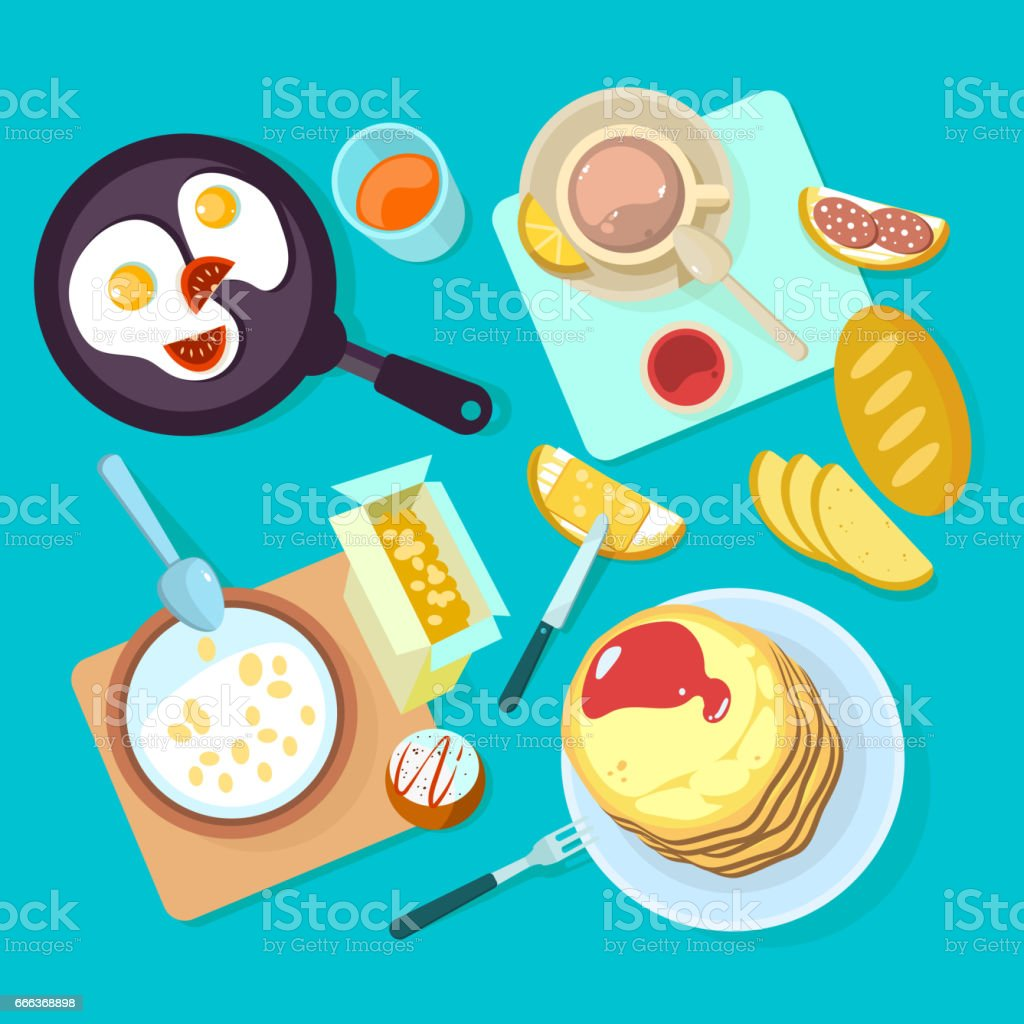 Fresh healthy breakfast food and drinks top view isolated on blue backgraund vector art illustration