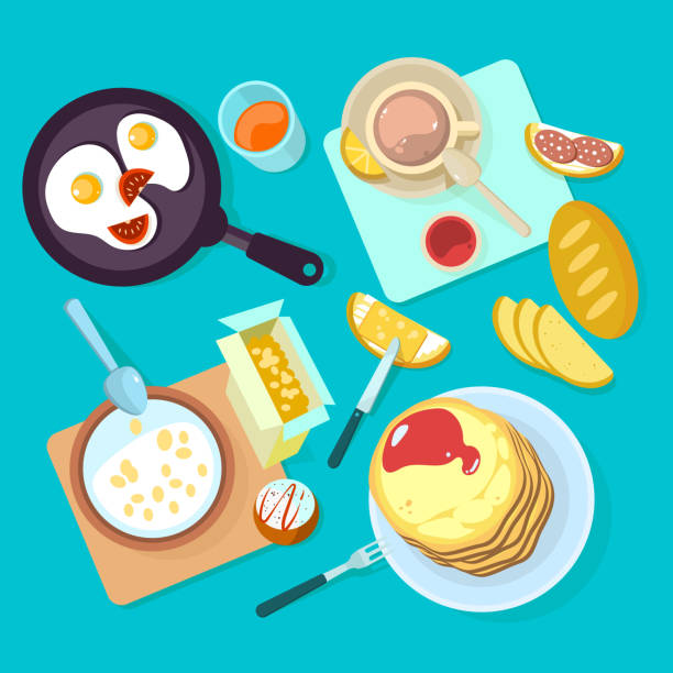 ilustraciones, imágenes clip art, dibujos animados e iconos de stock de desayuno saludable de alimentos y bebidas vista superior aislada en backgraund azul - desayuno