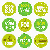 Fresh healthy organic vegan food logo labels and tags. Vector hand drawn illustration. Vegetarian eco green concept
