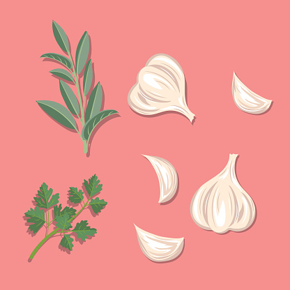 Fresh Herbs: Garlic, Sage And Parsley