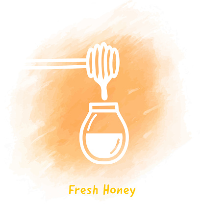 Fresh Honey Doodle Watercolor Background