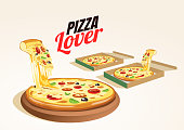 Pizza Box, Whole and Slice Pizzas. Vector Illustration. Editable Icon Set. fresh hot delicious pizza delivery box . vector food.
