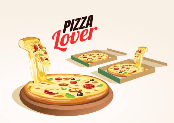 ilustraciones, imágenes clip art, dibujos animados e iconos de stock de caja de entrega de pizza deliciosa caliente fresca. vector alimentos. - pizza