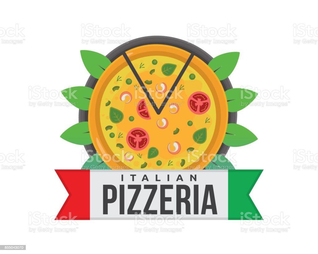 Fresh Hot Tasty Pizza Delivery Badge Illustration vector art illustration