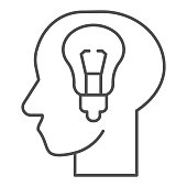 Fresh idea in mind thin line icon. Head with light bulb, bright solution lamp symbol, outline style pictogram on white background. Teamwork sign for mobile concept or web design. Vector graphics