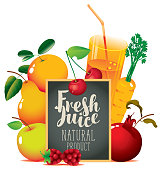 Vector banner for natural fresh juice with different fruits and berries, glass of juice and blackboard with inscription