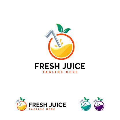 Fresh Juice logo designs template, Orange juice logo template