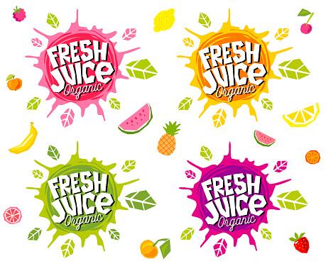 Fresh juice logo emblem bright splash shiny stickers, emblems banners labels , fruits vegetables fresh smoothies. Vegan eco bio green healthy food. Hand drawn vector illustration.