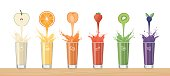 Fresh healthy juice pouring from tasty fruits into glasses and composing a rainbow, healthy drinks and variety concept